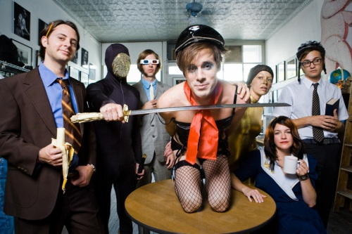 OF MONTREAL.  James Huggins aka James Husband is on the left.